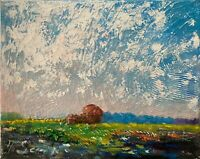 Sunny Meadows White Clouds Original Oil Painting Impressionist LANDSCAPE