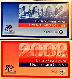 2002 UNITED STATES MINT UNCIRCULATED COIN P&D SETS IN OGP ENVELOPE & COA