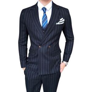 Men's 3PCS Suit Striped Two Button Slim Fit Tuxedo Business Wedding Casual New L