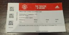 More details for manchester united fc v west ham united fc 22/09/2021 used matchday ticket rare
