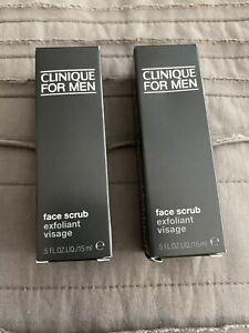 2x Clinique for Men Face Scrub Exfoliant Visage MINI .5oz, 15ml Each New In Box
