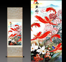 Chinese Silk Scroll Painting Nine Red Fish Home Office Decoration(红红火火九鱼图)