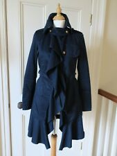 GUESS JEANS DESIGNER FRENCH NAVY COTTON RUFFLE COAT JACKET MAC SIZE SMALL UK 10