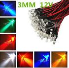 Bulk  XMAS Prewired LED 3mm 12V Warm Red Green Blue Yellow UV Pink Orange Lamp