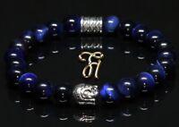 Tigerauge blau glänzend Armband Bracelet Perlenarmband Buddhakopf silber 8mm