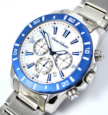 Gianni Sabatini Mens White Blue Chrono Watch 10ATM WR Date Stainless Steel Strap