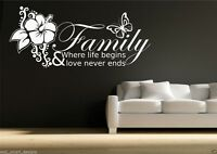 Family Love Life Begins WALL QUOTE Sticker Art Decal Mural Transfer WSD416