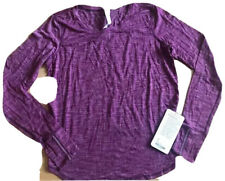 NWT LULULEMON ON THE RUN LS TOP size 8 Heathered Magenta Purple Reflective Gym