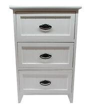 Moderno bianco lucido in legno piccola 3 CASSETTI COMODINO / MOBILETTO PORTAOGGETTI