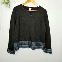 J. Jill Lambswool Angora Charcoal Nordic Pullover Sweater Medium