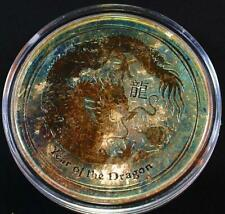 2012-P $1 1 Ounce 999 Perth Mint Australia Sliver Lunar Year of the Dragon Toned