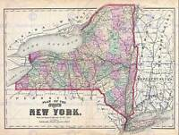 1873 BEERS MAP NEW YORK STATE VINTAGE POSTER ART PRINT 12x16 inch 30x40cm 2959PY