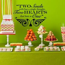 """Two Hearts that Beat as One Wedding Wall Decor Vinyl Sticker Decal 16""""h x 22""""w"""