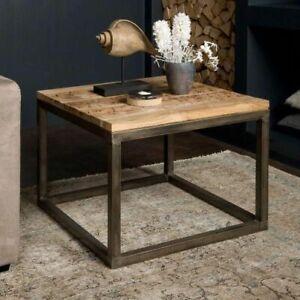 tavolino basso da salotto vero legno ferro stile vintage industral urban shabby