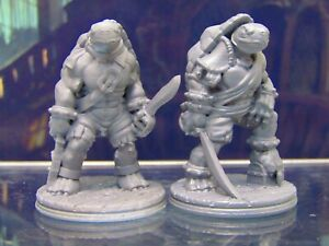 Tortle Pirate Pair Mini Miniature Figure 3D Printed Model 28/32mm Scale Fantasy