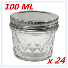 24 x SMALL QUILTED CONSERVE JAM CANDLE MAKING GLASS JARS JAR 100ML CANDY PARTY A