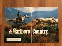 2 Page Marlboro Cigarette Print Ad ~ 1988 ~ Come to Marlboro Country ~ Cowboy