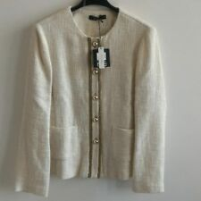 TAILLEUR Blazer Giacca  da Donna Elegante formale bottoni dorati panna bianco