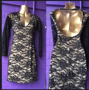 Gothic Black lace net body con dress with deep scoop back, size 10 Halloween