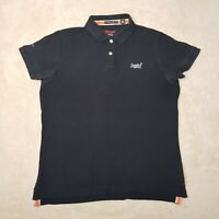 Superdry Pique Polo Shirt Adult Extra Large Blue White Spell Out Cotton Mens *