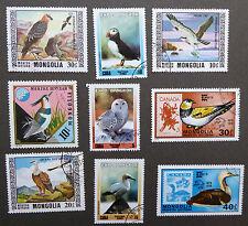 Lot de 9 Timbres de Complaisance thème Oiseaux Mongolie Années 1974-2003