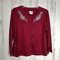 BonWorth Cardigan Sweater Burgundy Paisley Women's Size XS Petite