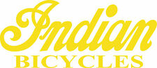 """INDIAN BICYCLE DIE CUT DECAL / STICKER - 8.5"""" X 3.75"""" - SET OF 2 - YELLOW"""