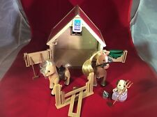 Calico Critters Sylvanian Families Stable & Pony W/ 2 Horses 100% complete w/box