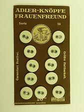 2 X PAPPE ALTE KNÖPFE ADLER je 11 STÜCK FRAUENFREUND UM 1930 WÄSCHEKNÖPFE