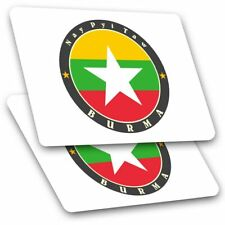 2 x Rectangle Stickers 7.5 cm - Burma Nay Pyi Taw Burmese Flag  Cool Gift #5635