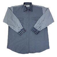 Roper Rodeo Blue Mens Size XXL 2XL Blue & White Long Sleeve Western Shirt
