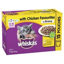 Whiskas Favourites Kitten 2-12 Months Chicken In Gravy Wet Cat Food Pouches 8...