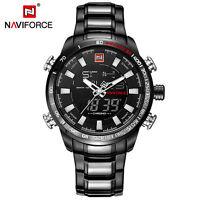 NAVIFORCE 9093 Men Military Sport Dual Watch Digital Quartz Clock Full Steel