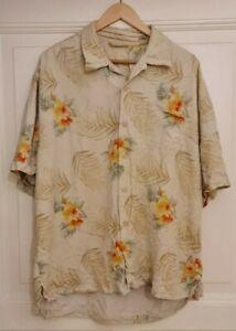 Tommy Bahama Aloha Shirt Hawaii Hemd XL Seide Beige