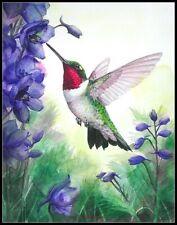 Ruby Throated Hummingbird -Chart Counted Cross Stitch Pattern Needlework Xstitch