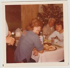 Square Vintage 70s PHOTO Young Guys & Man At Christmas Food Table