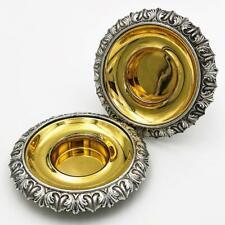 More details for stunning pair william iv old sheffield plate salt cellars c1830 gilt bowls