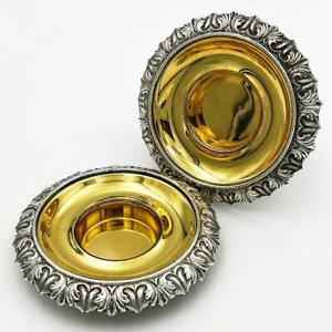 Stunning PAIR WILLIAM IV OLD SHEFFIELD PLATE SALT CELLARS c1830 Gilt Bowls