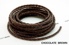 10FT - 3mm Round Braided Bolo PU Leatherette Cord Bracelet Craft Jewelry Making