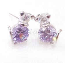 Women Lady White Gold Plated Lilac CZ Cubic Zirconia Crystal Cat Stud Earrings
