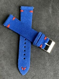 02 Straps for 22mm BLUE Vintage Handmade Suede Leather watch RED band strap