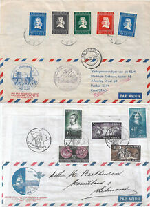 1952 - Double cover - Netherlands to South Africa and return - stamped both ways