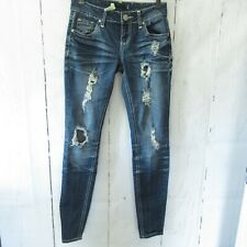 Almost Famous Jeans 3 Skinny Dark Distressed Ripped Destroyed