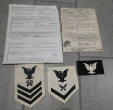 Lot of Vintage WWII Honorable Discharge papers & Patches