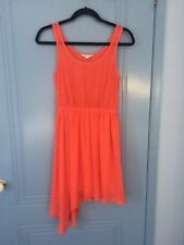 Jay jays bright coral asymmetric chiffon dress size 8