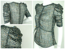 ISABEL MARANT for H&M Silk Metallic Ruched Sleeve Top Size S