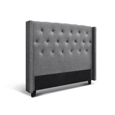 Artiss Faux Linen Fabric Foam Wood Bed Headboard, Size Queen - Grey