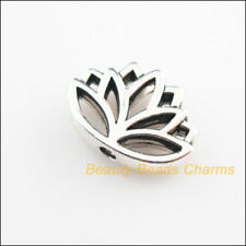 12 New Flower Lotus Charms Tibetan Silver Tone Spacer Beads 11x16mm