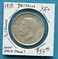 GREAT BRITAIN - FANTASTIC HISTORICAL GEORGE V SILVER 1/2 CROWN, 1918, KM# 818.1