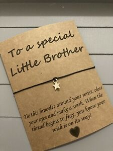 🌟Special Little Brother friendship Wish Star Charm bracelet Gift Present🌟